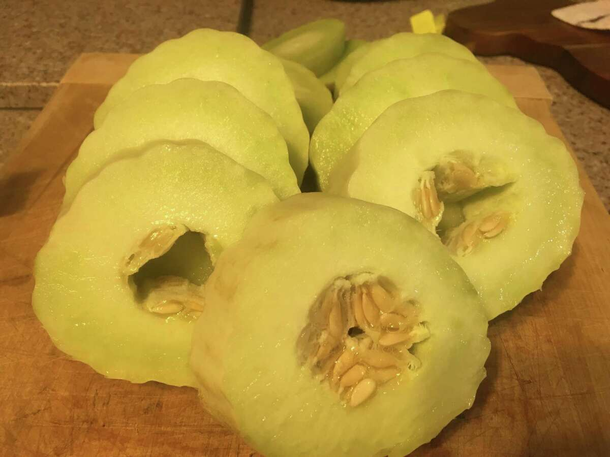Armenian cucumbers actually belong in the melon family, with slimy seeds in the middle that need to be scooped out before either serving them hot or cold.