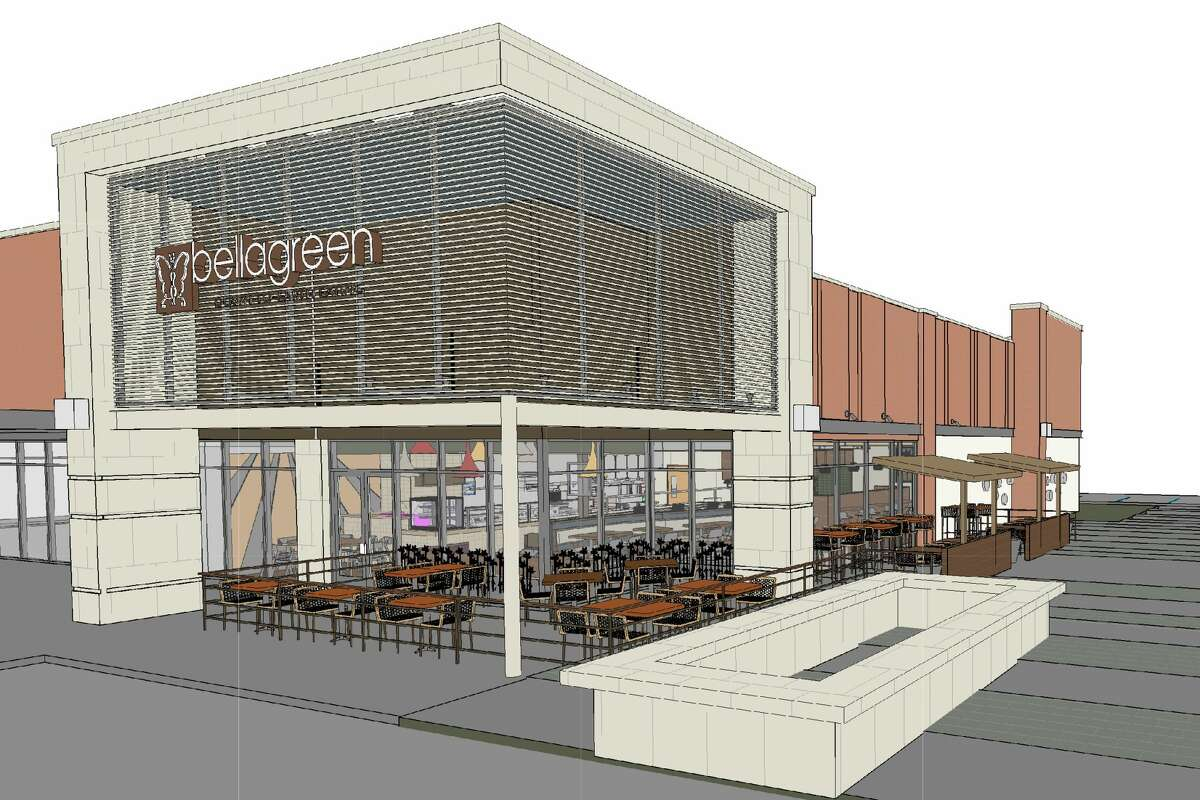 Renderings of the new Bellagreen location expected to open in early October at Vintage Marketplace. Ruggles Green has changed its name to Bellagreen and is planning to expand to 35 restaurants in the next five years.