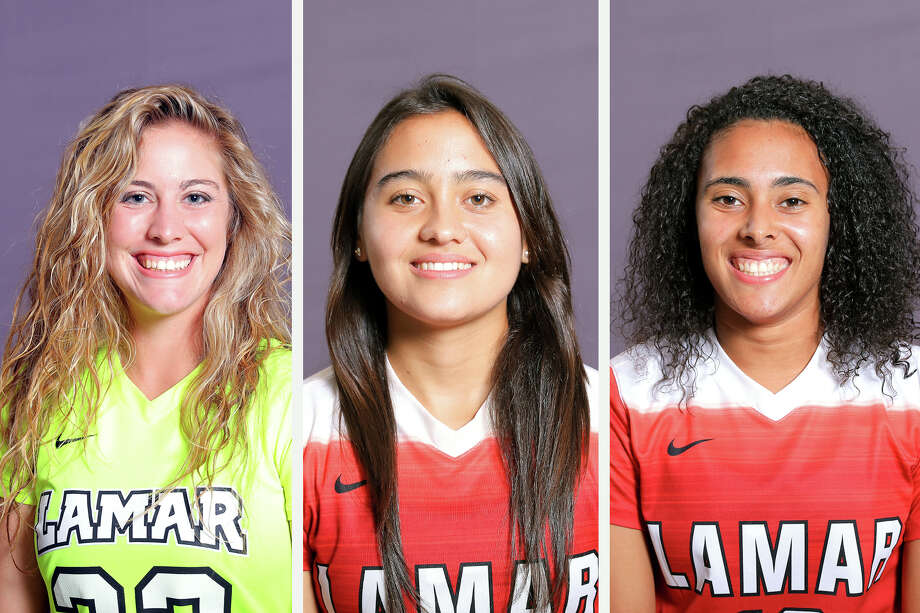 Three Lamar women's soccer players swept the sports' weekly Southland Conference awards, the conference announced Tuesday. From left, senior Lauren Lovejoy was voted goalkeeper of the week while junior midfielder Juliana Ocampo earned defensive honors and junior forward Kelso Peskin was named offensive player of the week. (Photos provided by Lamar Athletics)