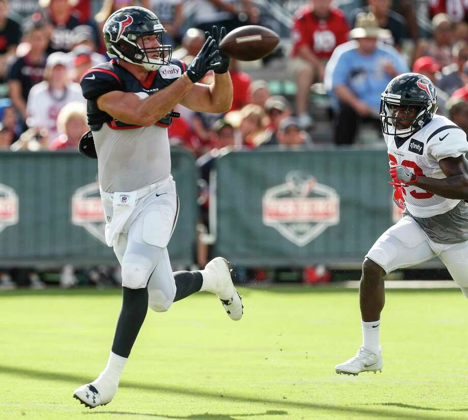 Houston Texans tight end Ryan Griffin (84) runs past free safety Andre Hal (29) to make a catch during training camp at The Methodist Training Center on Tuesday, Aug. 22, 2017, in Houston. Photo: Brett Coomer, Houston Chronicle / © 2017 Houston Chronicle}