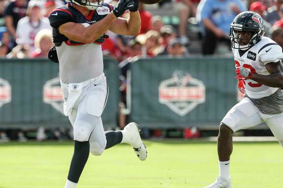 Houston Texans tight end Ryan Griffin (84) runs past free safety Andre Hal (29) to make a catch during training camp at The Methodist Training Center on Tuesday, Aug. 22, 2017, in Houston.