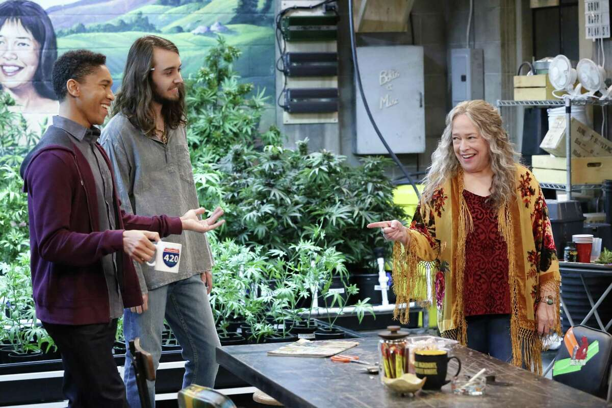 """Aaron Moten, Dougie Baldwin and Kathy Bates operate a pot store, where everyone is stoned most of the time, in """"Disjointed."""""""