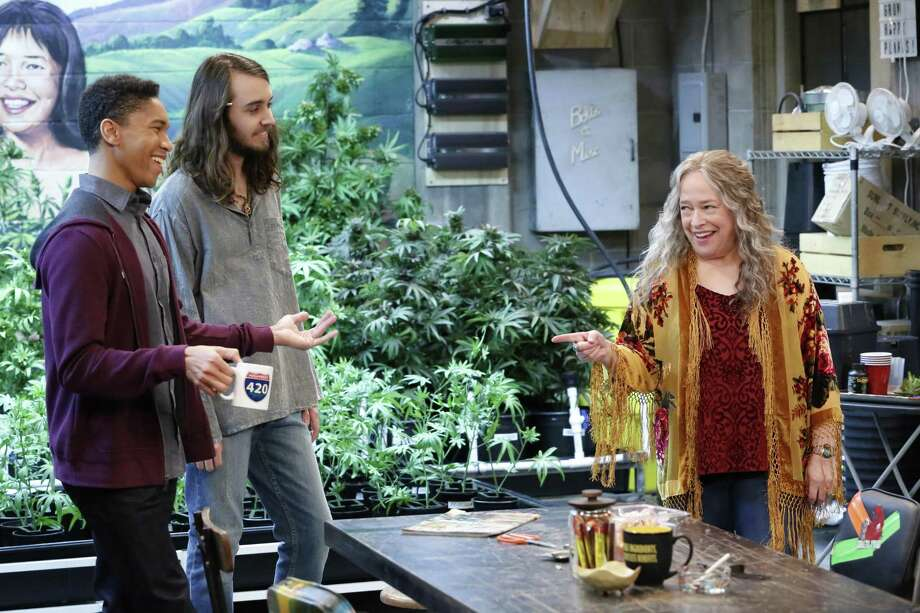 "Aaron Moten, Dougie Baldwin and Kathy Bates operate a pot store, where everyone is stoned most of the time, in ""Disjointed."" Photo: Robert Voets/Netflix / Robert Voets / Netflix"