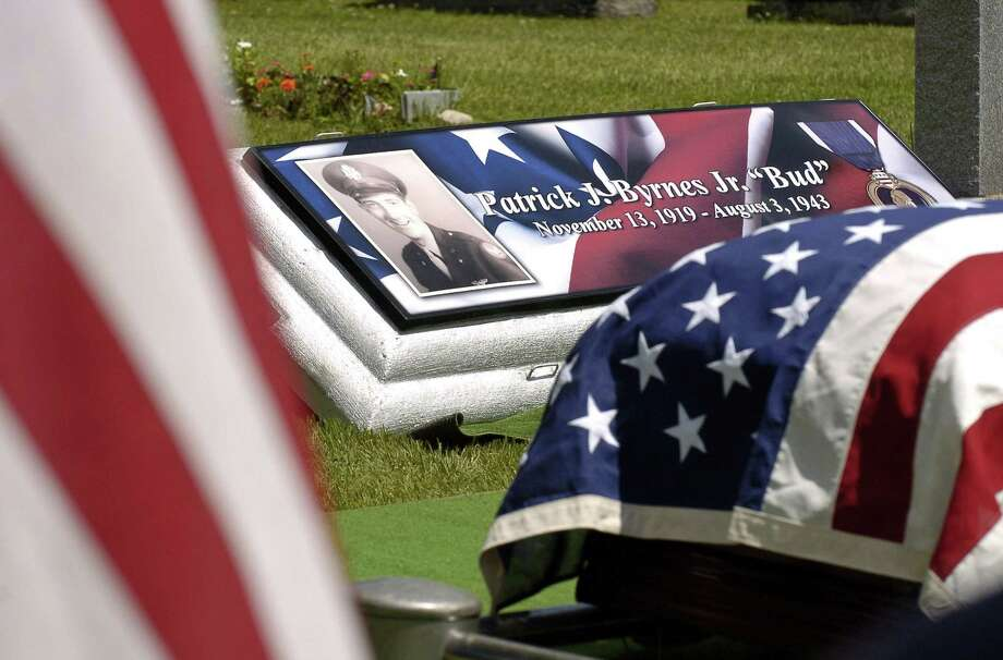"A military honors burial was held Saturday for Patrick J. Byrnes, known as ""Bud,"" who was killed in action in 1943 at the age of 23. His remains were recently identified by the U.S. Army and returned to his family. Photo: Matthew Brown / Hearst Connecticut Media / Stamford Advocate"