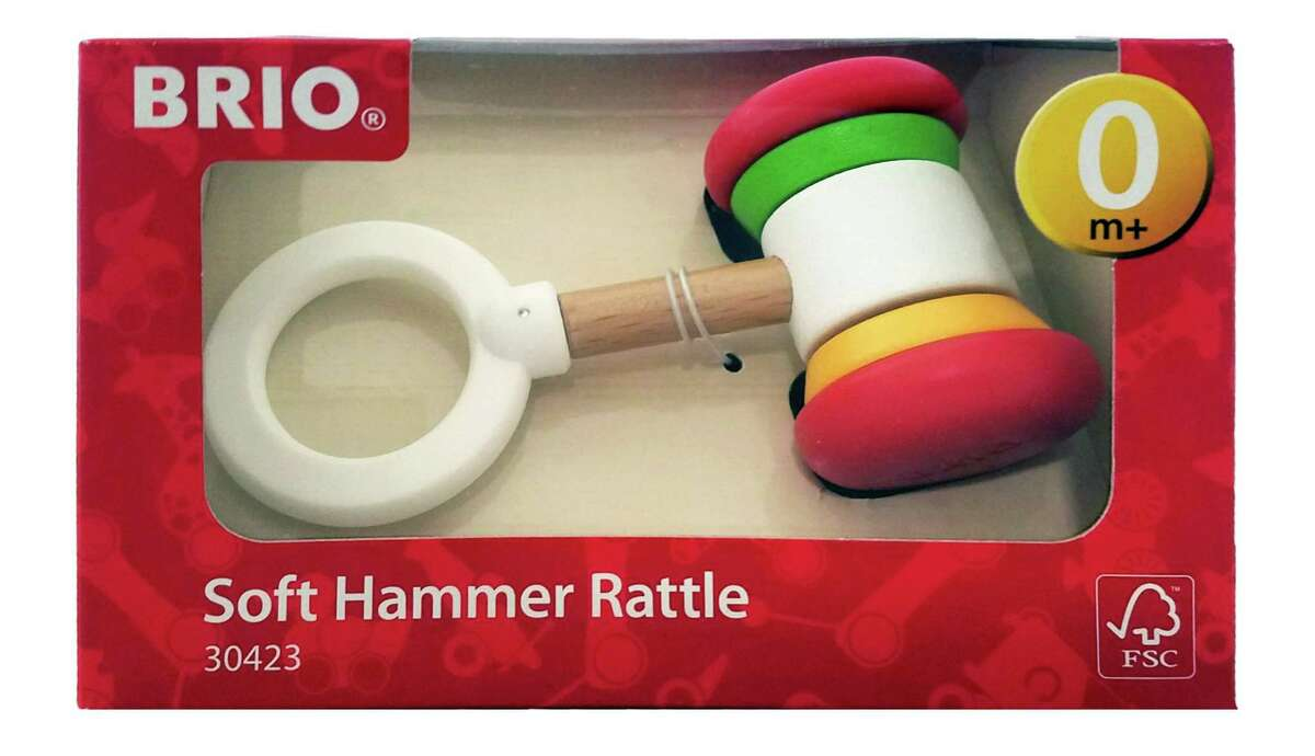 BRIO is recalling about 1,500 soft hammer baby rattles sold in the United States because the wooden rings on the hammer rattles can crack, posing a choking hazard to children. Photo courtesy of the Consumer Product Safety Commission.
