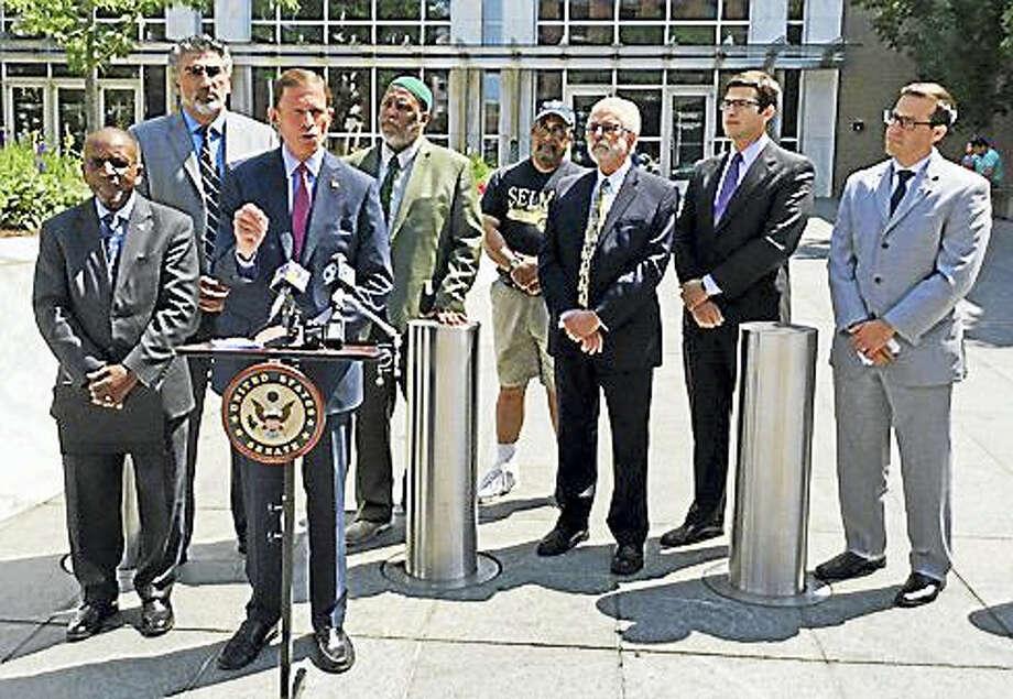 U.S. Sen. Richard Blumenthal speaks Monday outside the federal building in Hartford. Photo: Jack Kramer / Ctnewsjunkie