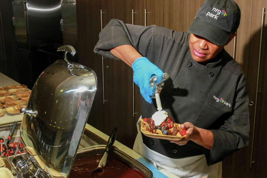 PHOTOS: New concession items available during Texans games at NRG StadiumJoann Grover puts the finishing touches on a Dessert Nacho, one of the new food options from the Houston Texans and Aramark for fans at NRG Stadium this football season.  (For the Chronicle/Gary Fountain, August 22, 2017)Browse through the photos above for a look at some of the new concession items available during Texans games at NRG Stadium. Photo: Gary Fountain, Gary Fountain/For The Chronicle / Copyright 2017 Gary Fountain