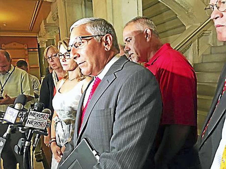 Sen. Len Fasano, House Speaker Joe Aresimowicz and House Minority Leader Themis Klarides. Photo: Christine Stuart / CTNewsJunkie