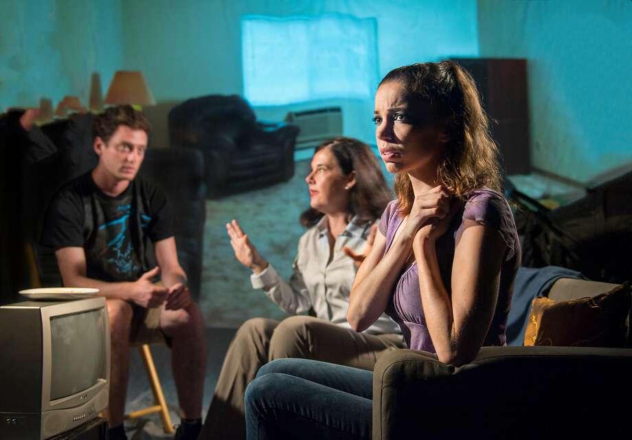 """Devin S. O'Brien (left), Jamie Jones and Alix Cuadra in """"Luna Gale."""" Photo: David Allen, Aurora Theatre Company"""