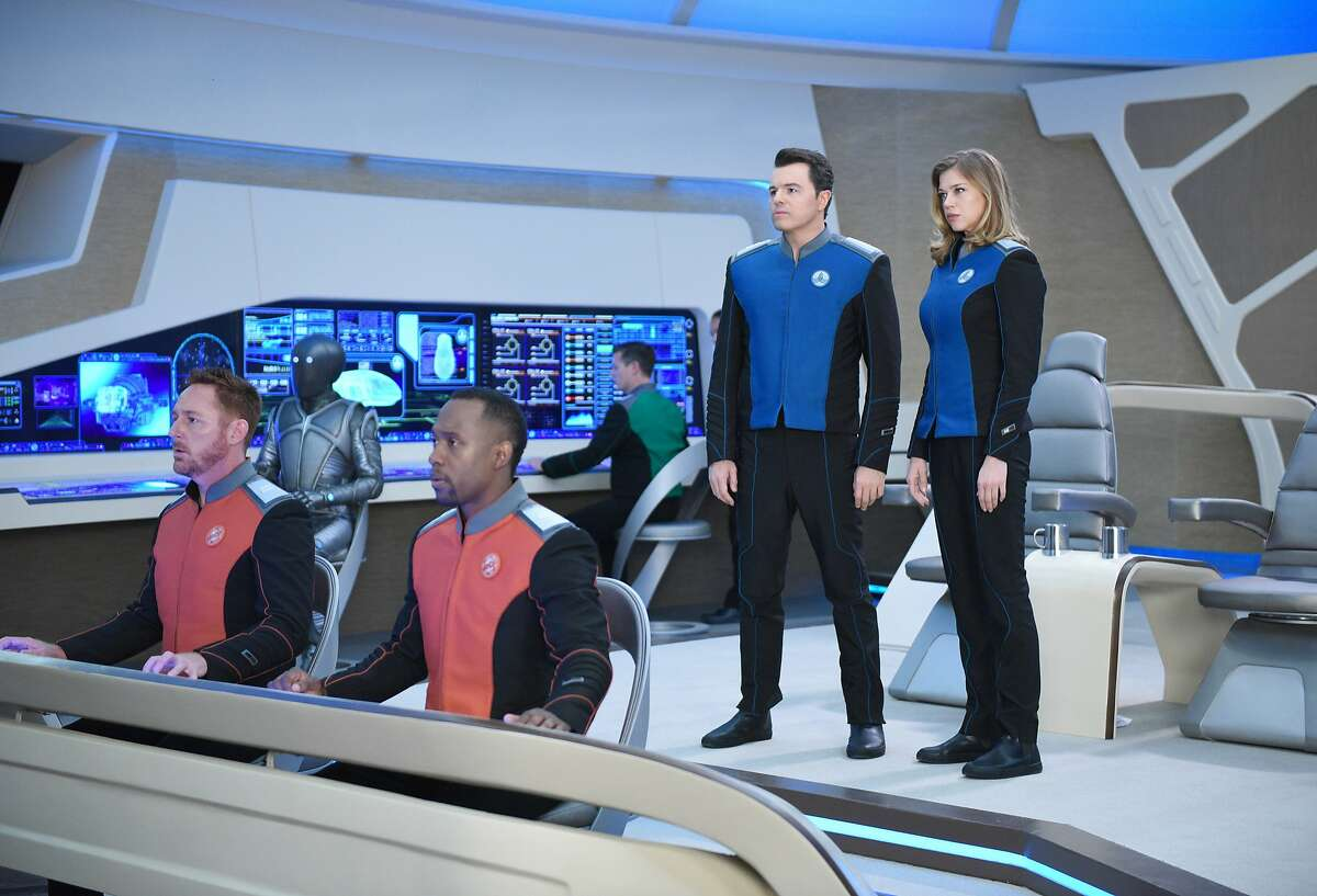 """THE ORVILLE: L-R: Scott Grimes, Mark Jackson, J Lee, Seth MacFarlane and Adrianne Palicki in the """"Old Wounds"""" episode of THE ORVILLE, the first part of the two-night special series premiere airing Sunday, Sept. 10 (8:00-9:00 PM ET LIVE to all Time Zones),"""