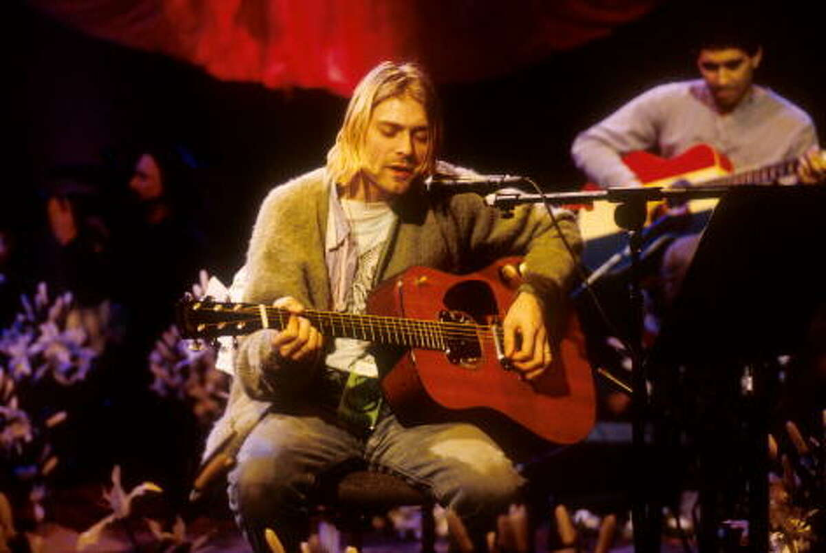 Kurt Cobain of Nirvana during the taping of MTV Unplugged at Sony Studios in New York City, November 18, 1993.