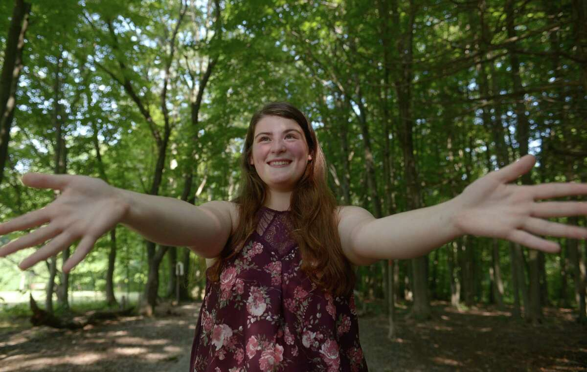 Norwalk High School student Hannah Keyes at Cranbury Park Tuesday, August 22, 2017, in Norwalk, Conn. Keyes spent her summer at Hands of Peace in Chicago, an organization dedicated to developing peace building and leadership skills among Palestinian, Israeli and American young people.