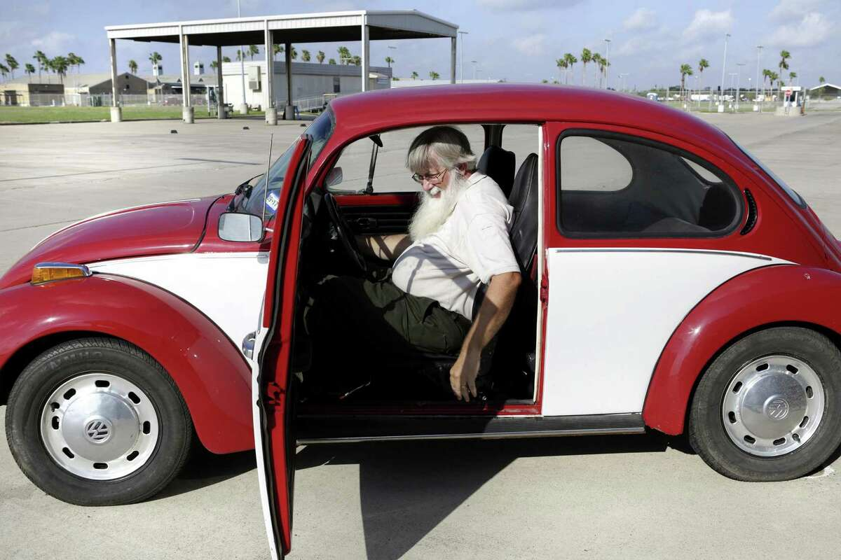 David McCoy, an entomologist at USDA plant inspection station at the Free Trade Bridge in Los Indios, TX, is easy to spot in his 1973 Volkswagen Bug, on Friday Aug. 18, 2017.
