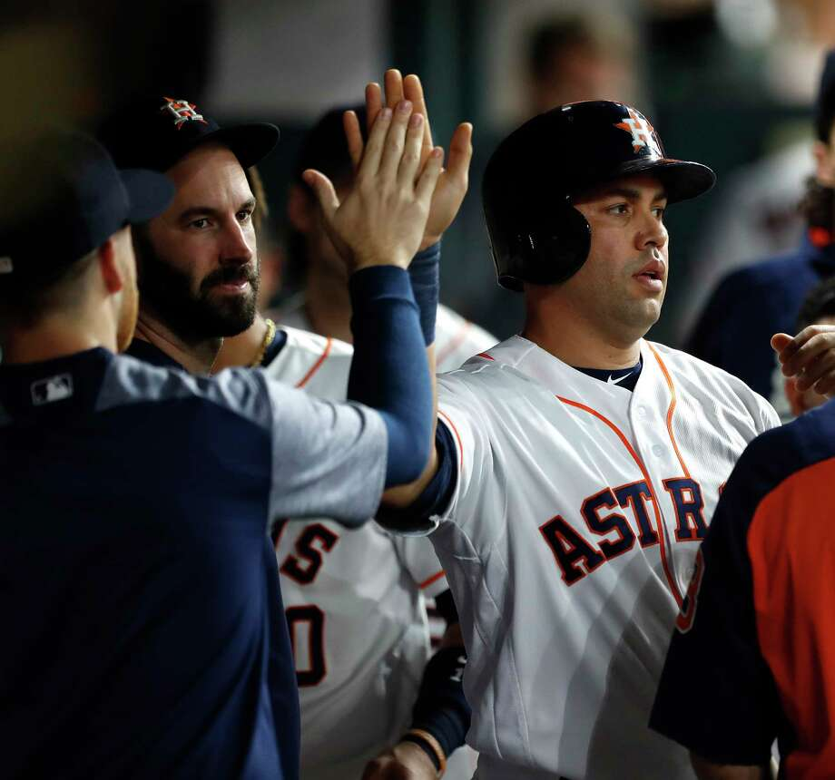 Houston Astros Carlos Beltran (15) celebrates his run scored on a single by Derek Fisher in the second inning of an MLB game at Minute Maid Park, Tuesday, Aug. 22, 2017, in Houston. Photo: Karen Warren, Houston Chronicle / @ 2017 Houston Chronicle