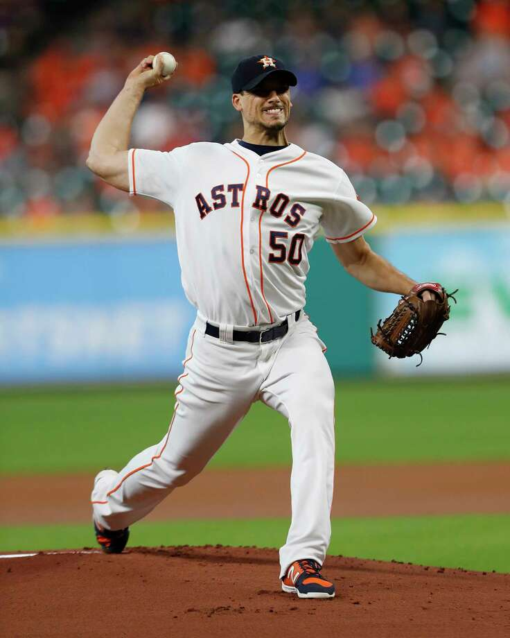 Houston Astros starting pitcher Charlie Morton (50) pitches in the first inning of an MLB game at Minute Maid Park, Tuesday, Aug. 22, 2017, in Houston. Photo: Karen Warren, Houston Chronicle / @ 2017 Houston Chronicle