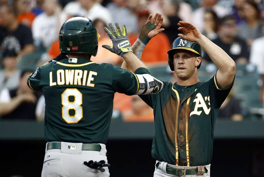 Oakland Athletics' Boog Powell, right, greets teammate Jed Lowrie at home plate after scoring on Lowrie's two-run home run in the first inning of a baseball game against the Baltimore Orioles in Baltimore, Tuesday, Aug. 22, 2017. (AP Photo/Patrick Semansky) Photo: Patrick Semansky, Associated Press