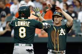 Oakland Athletics' Boog Powell, right, greets teammate Jed Lowrie at home plate after scoring on Lowrie's two-run home run in the first inning of a baseball game against the Baltimore Orioles in Baltimore, Tuesday, Aug. 22, 2017. (AP Photo/Patrick Semansky)