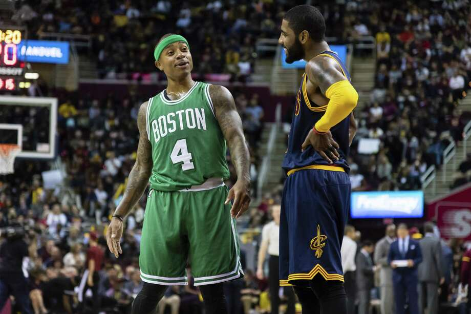 CLEVELAND, OH - NOVEMBER 03: Isaiah Thomas #4 of the Boston Celtics and Kyrie Irving #2 of the Cleveland Cavaliers talk on the court during the first half at Quicken Loans Arena on November 3, 2016 in Cleveland, Ohio. The Cavaliers defeated the 128-122. NOTE TO USER: User expressly acknowledges and agrees that, by downloading and/or using this photograph, user is consenting to the terms and conditions of the Getty Images License Agreement. Mandatory copyright notice. (Photo by Jason Miller/Getty Images) Photo: Jason Miller / Getty Images / 2016 Jason Miller