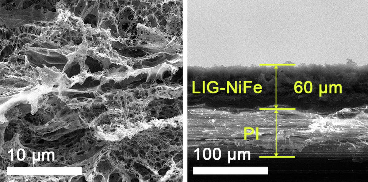 A two-sided electrocatalyst developed at Rice University splits water into hydrogen on one side and oxygen on the other. On the oxygen side, seen in electron microscope images, nickel and iron are deposited onto laser-inducedgraphene.