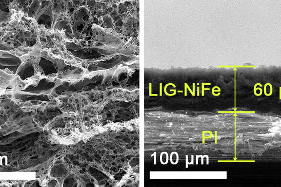 A two-sided electrocatalyst developed at Rice University splits water into hydrogen on one side and oxygen on the other. On the oxygen side, seen in electron microscope images, nickel and iron are deposited onto laser-induced graphene.
