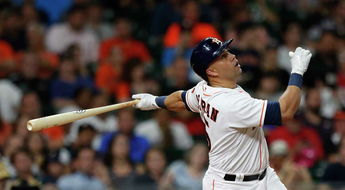 Houston Astros designated hitter Carlos Beltran (15) pops out in the sixth inning of an MLB game at Minute Maid Park, Tuesday, Aug. 22, 2017, in Houston.
