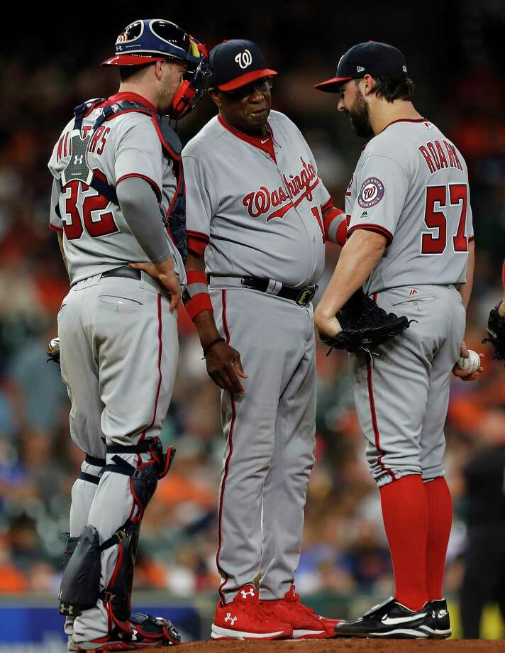 Dusty Baker (middle) will not return as manager of the Nationals next season. His contract expired this year. Photo: Karen Warren, Houston Chronicle / @ 2017 Houston Chronicle