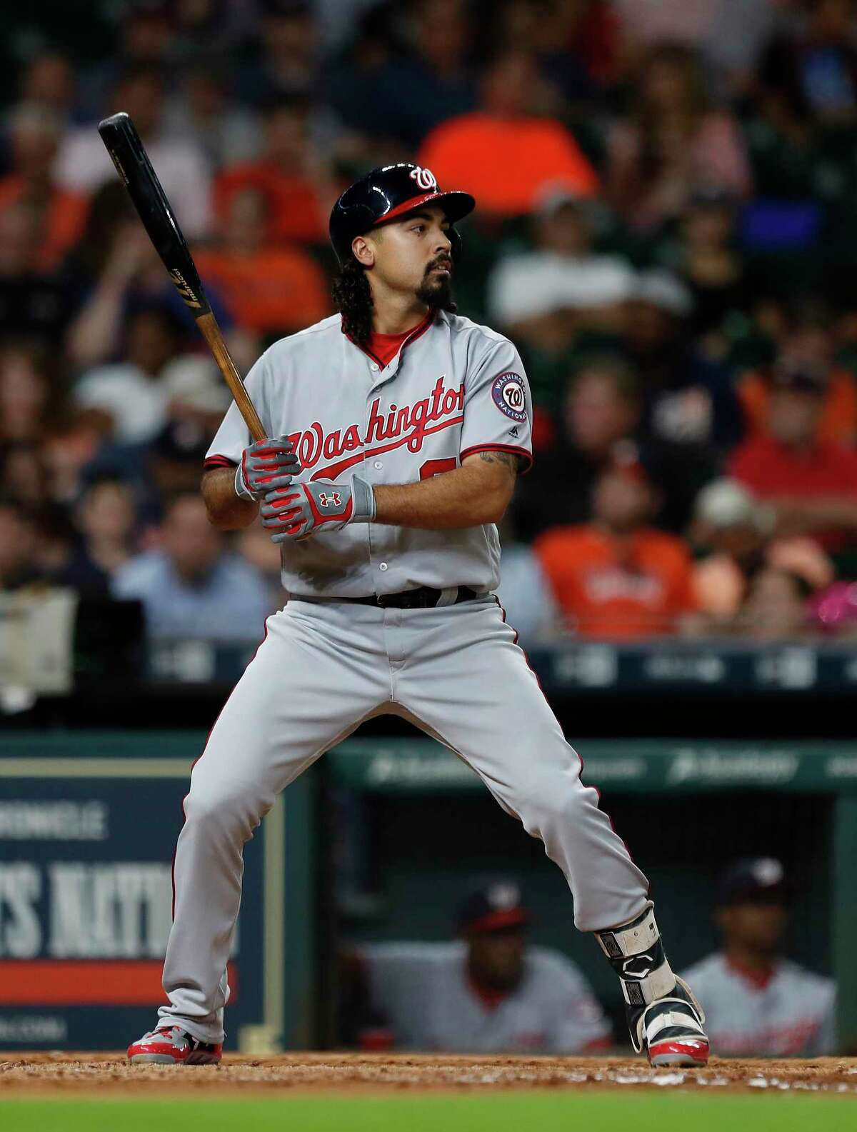 Former Rice University player Washington Nationals Anthony Rendon (6) at bat in the fourth inning of an MLB game at Minute Maid Park, Tuesday, Aug. 22, 2017, in Houston.