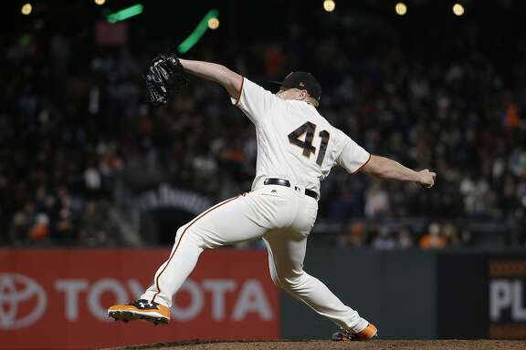 San Francisco Giants pitcher Mark Melancon (41) against the Philadelphia Phillies during a baseball game in San Francisco, Thursday, Aug. 17, 2017. (AP Photo/Jeff Chiu)