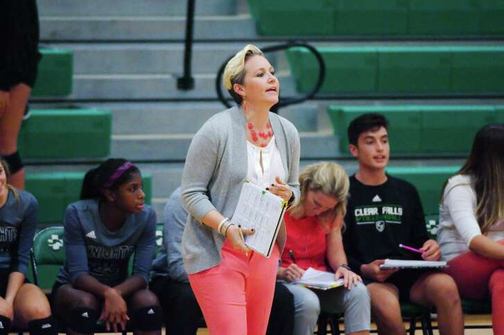 Clear Falls volleyball coach Lyndsay Hodges watches her team play Dawson Tuesday, Aug. 22 at Clear Falls High School.