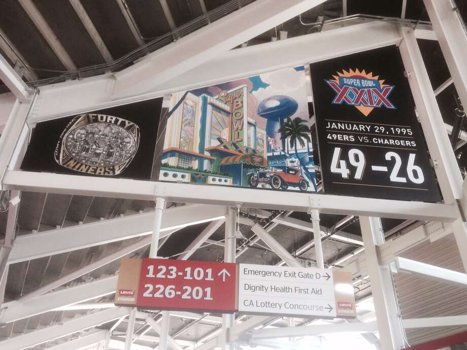 Super Bowl banners will also be displayed like this one celebrating the team's last Super Bowl win over San Diego in January of 1995 (Kevin Lynch)