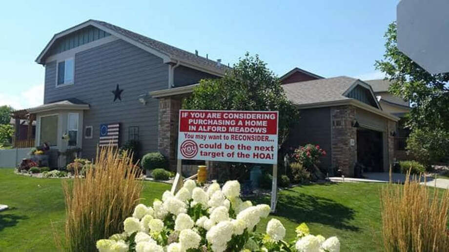 Richard Stephens erected this sign after his homeowners association told him he had too many decorations in his front yard. Click through the gallery for a roundup of nitpicky HOA rules in Northern California. Photo: Richard Stephens. / The Washington Post