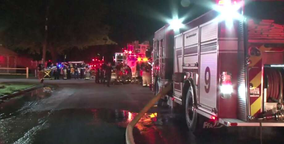 A firefighter was injured after a two-alarm blaze broke out late Tuesday in an east Houston warehouse. (Metro Video) Photo: Metro Video