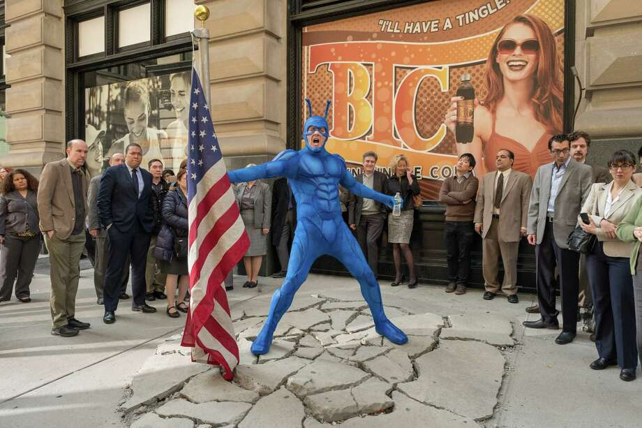"Peter Serafinowicz stars as the superhero in the new adaptation of the comic-book parody ""The Tick."" Photo: Jessica Miglio/Amazon Prime Video"