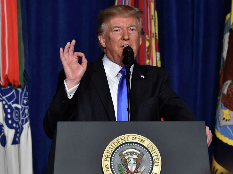 US President Donald Trump speaks during his address to the nation from Joint Base Myer-Henderson Hall in Arlington, Virginia, on August 21, 2017. Trump said a rapid Afghan exit would leave 'vacuum' for terrorists. / AFP PHOTO / Nicholas KammNICHOLAS KAMM/AFP/Getty Images Photo: NICHOLAS KAMM, Contributor / AFP/Getty Images / AFP or licensors