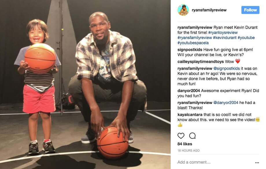 Kevin Durant and Ryan of Ryan's Family Review YouTube channel. Photo: Ryansfamilyreview/Screenshot