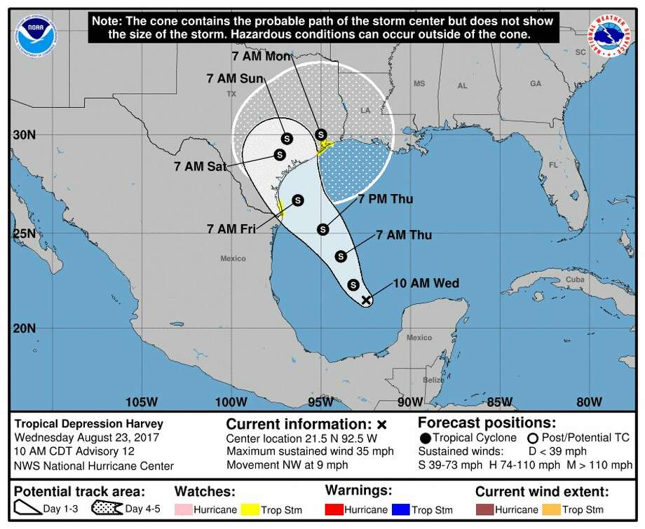The National Weather Service issued an updated forecast for Tropical Depression Harvey.