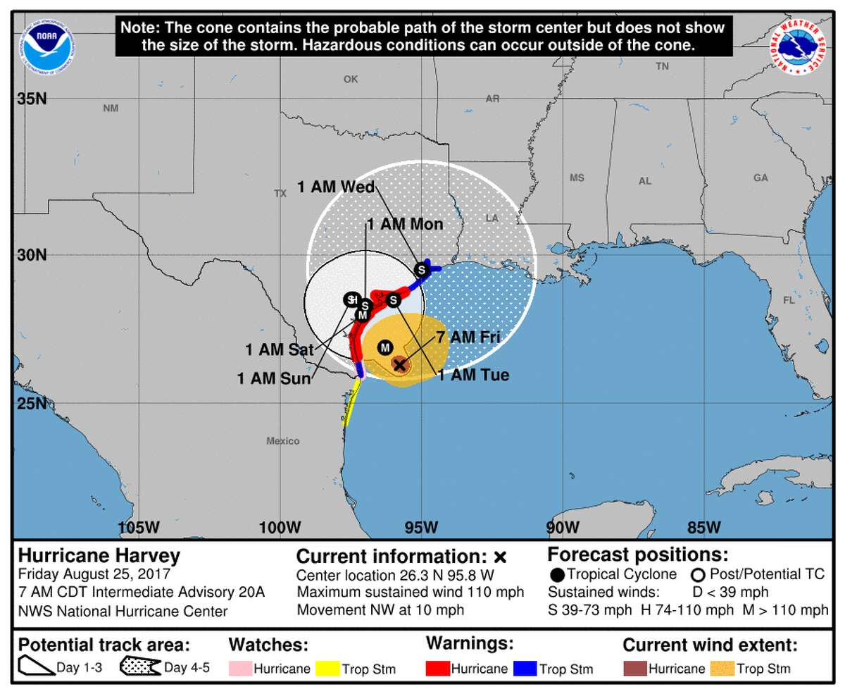 The probable pathfor Aug. 23, 2017 This map, released at 4 pm Wednesday, shows the probable path of Harvey over the next several days.