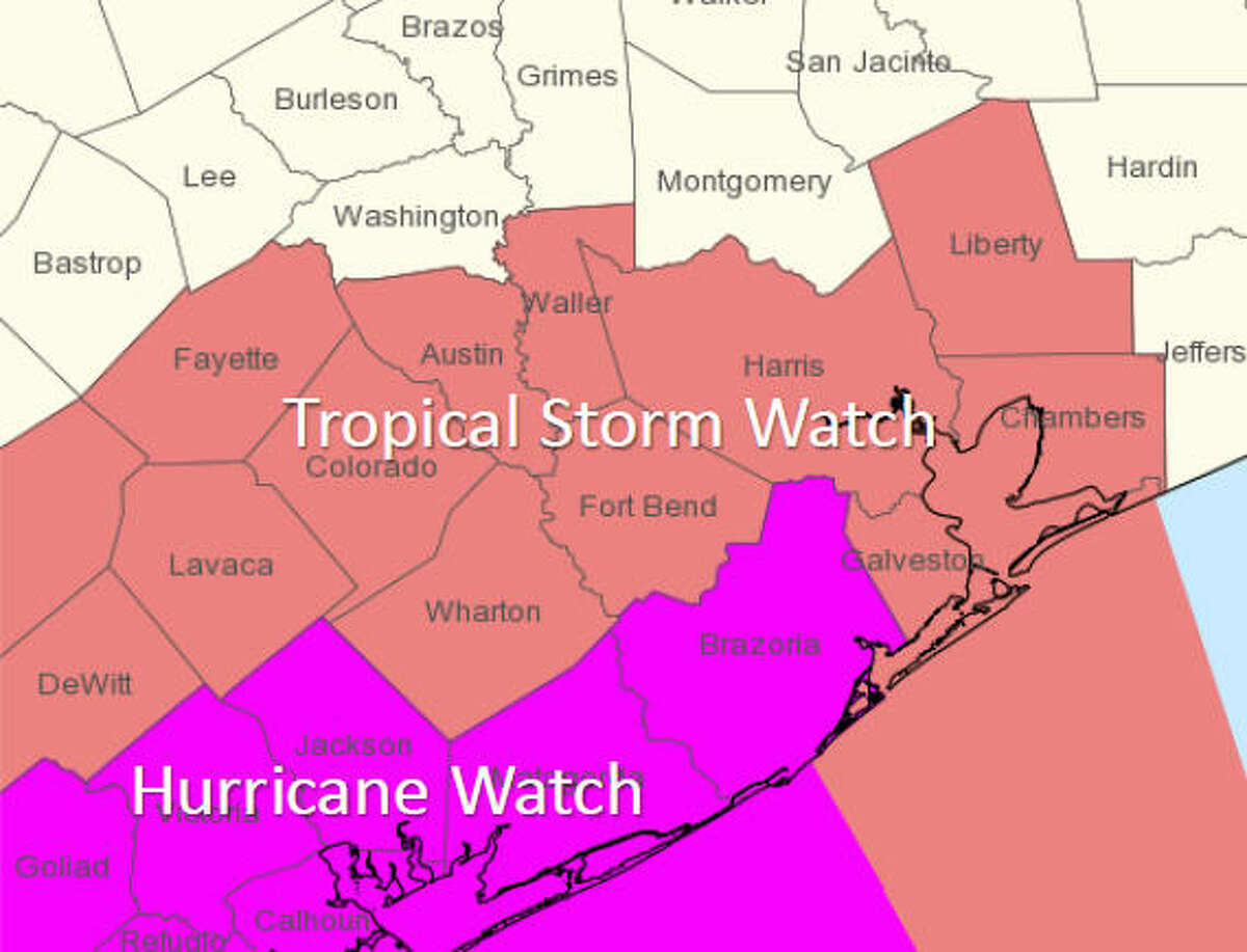 Watches and warningsfor Aug. 23, 2017 This map, released at 4 pm on Wednesday shows the areas under hurricane and tropical storm watches.
