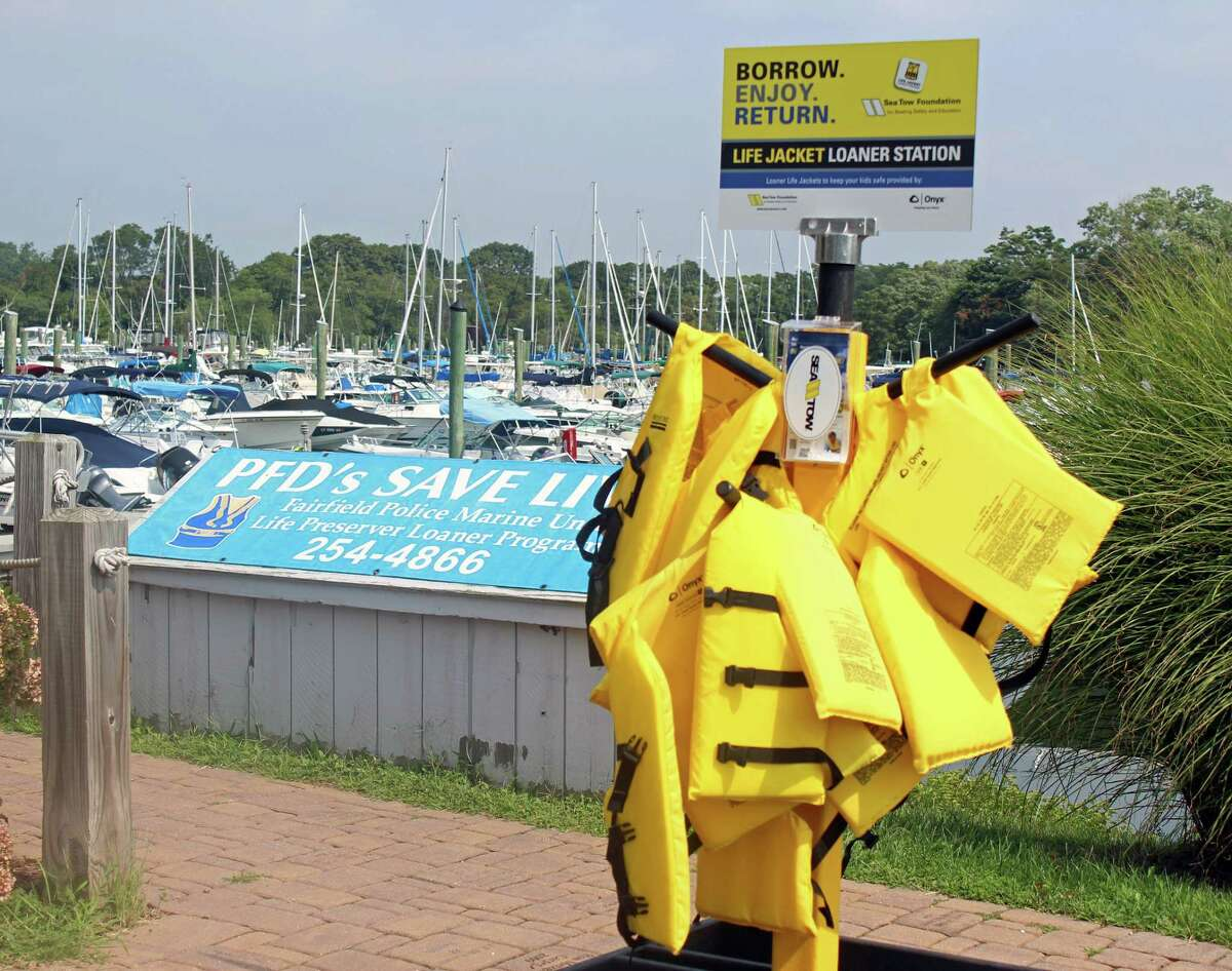 A life jacket loaner station, provided by the Sea Tow Foundation at the South Benson Marina. Fairfield, CT.