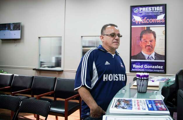Juan Rodriguez arrives to the offices of his immigration lawyer Raed Gonzalez early morning, Tuesday, Aug. 22, 2017, in Houston. Gonzalez asked Rodriguez to meet in his office to explain him the immigration court's decision to not reopen his case. Photo: Marie D. De Jesus, Houston Chronicle / © 2017 Houston Chronicle