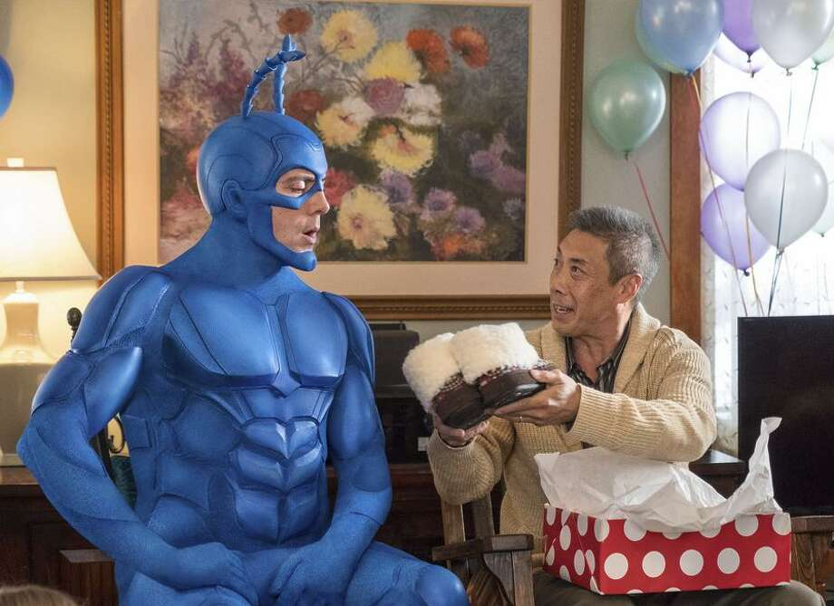 The Tick (Peter Serafinowicz) is a blue-clad crime fighter based on a mock comic hero with little in the way of brains. Photo: Jessica Miglio