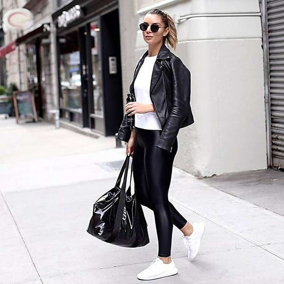 The Sweatbar's best-selling leggings, such as the Koral, have a wet, leather-like look that appeals to the luxury activewear client, who will likely wear them outside of the gym as well. Photo: The Sweatbar