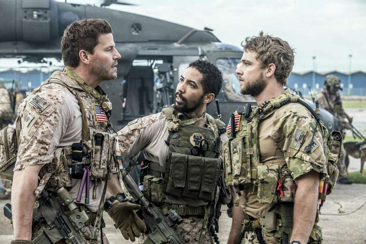 In CBS' new military drama, 'SEAL Team,' David Boreanaz, left, stars as Jason Hayes, the leader of the most elite unit of Navy SEALs as they train, plan and execute intensely perilous, high stakes missions. His team includes Ray (Neil Brown Jr., center), and Clay Spenser (Max Thieriot, right).