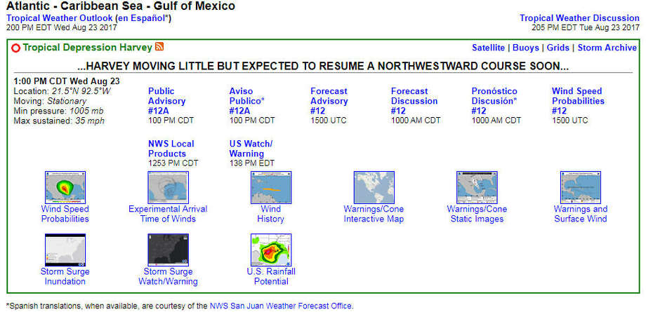 The National Hurricane Center's Harvey forecasts page. Photo: Chronicle Screenshot / National Hurricane Center