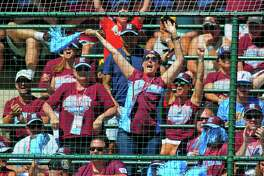 Fairfield American fans cheer a strike out by pitcher Ethan Righter during Little League World Series action against Jackson, NJ at Lamade Stadium in South Williamsport, Penn., on Wednesday Aug. 23, 2017. Fairfield defeated Jackson 12-2.