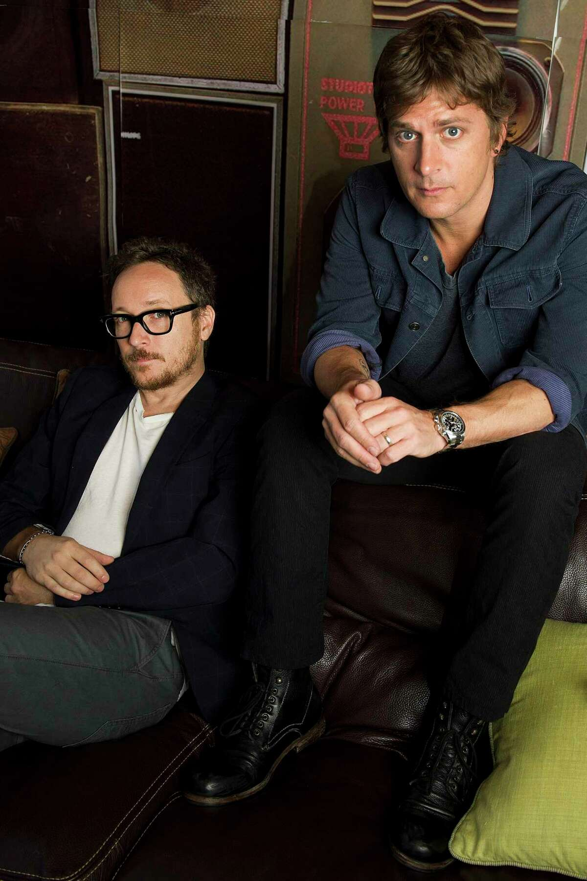 This July 10, 2012 photo shows Rob Thomas, right, and Paul Doucette of Matchbox Twenty in New York. (Photo by Charles Sykes/Invision/AP)