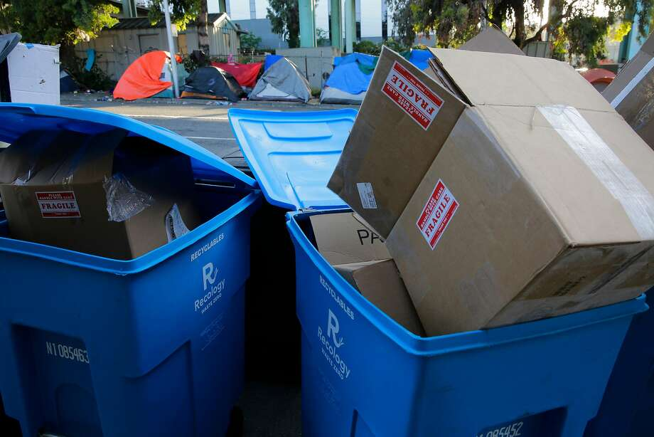 San Francisco recycling bins might soon welcome soft plastic bags. Photo: Michael Macor, The Chronicle