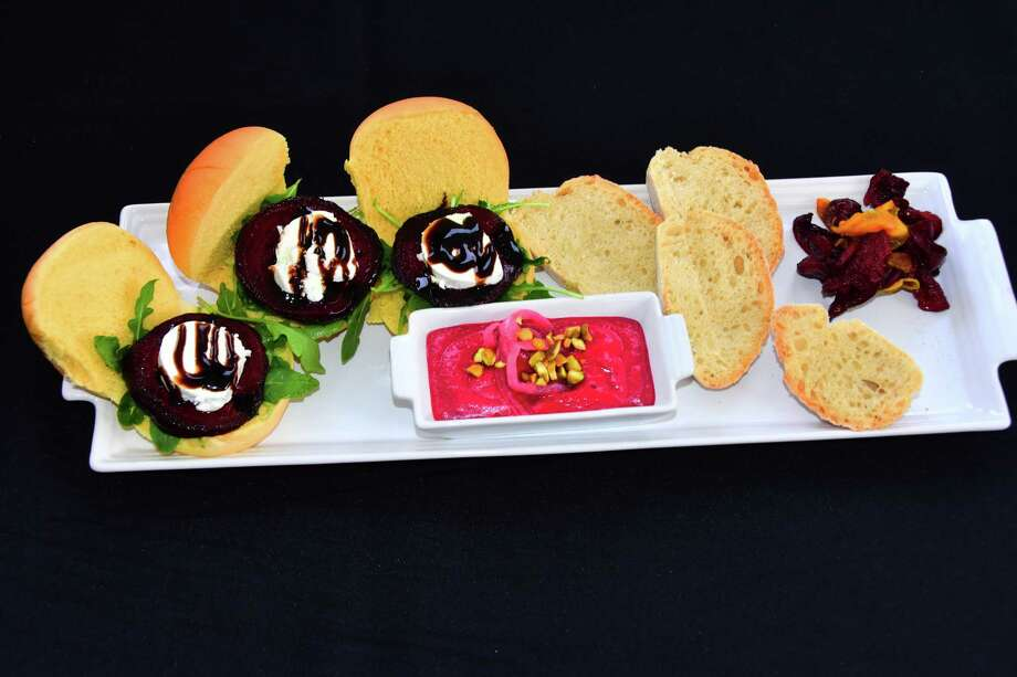 Craig Couture's winning appetizer during the Home Rangers semifinal: beet sliders, beet hummus with homemade bread, beet chips. (Photo by Steve Barnes/Times Union.)