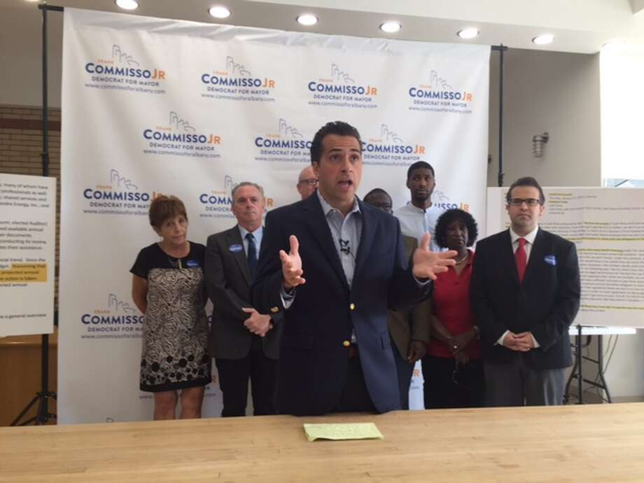 Albany mayoral candidate Common Councilman Frank Commisso Jr. holds press conference to share Jan. 2016 email that he says suggests is further evidence of the city's deteriorating fiscal health on Aug. 23, 2017 in Albany. Photo: Amanda Fries/Times Union