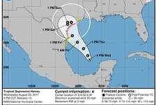 The National Hurricane Center expects Tropical Depression Harvey to strengthen as it heads to the Texas Coast. Map provided by the National Hurricane Center.